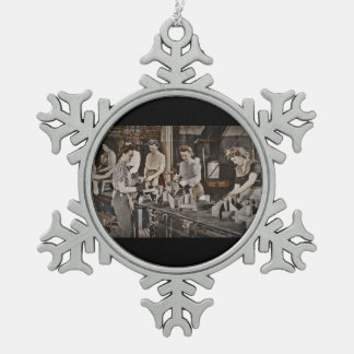 Women in an Assembly Line Pewter Snowflake Decoration
