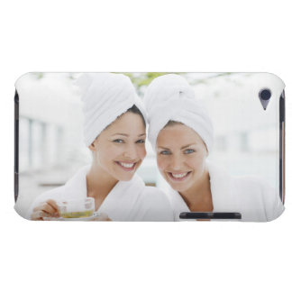 Women in bathrobes drinking tea at spa barely there iPod cases
