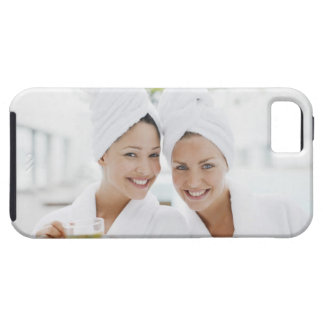 Women in bathrobes drinking tea at spa iPhone 5 case