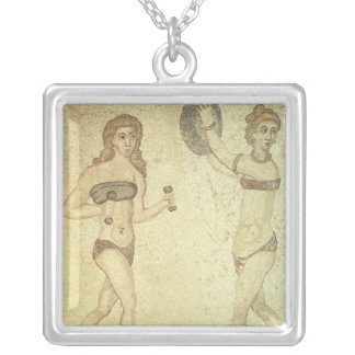 Women in 'bikinis' silver plated necklace