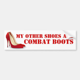 Women in Combat Red Stiletto Heels Bumper Sticker