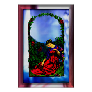 Women in rose garden  Print