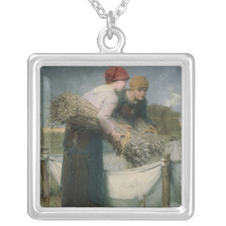 Women in the Field, 1882 Silver Plated Necklace