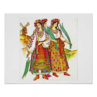 Women in Traditional Dress from Kyivchyna, Ukraine Poster