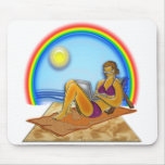 Women Laptop Computer at the Beach Rainbow Art Mouse Pads