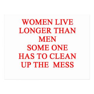 women live longer postcard