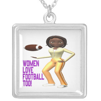 Women Love Football Too Silver Plated Necklace