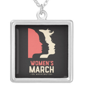 Women March On Washington T Shirt Silver Plated Necklace