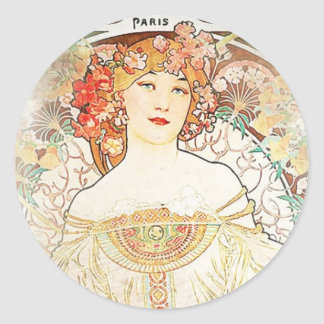 Women Mucha Round Sticker