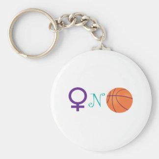 Women-N-Basketball Basic Round Button Key Ring
