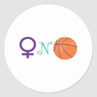 Women-N-Basketball Round Sticker