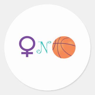 Women-N-Basketball Round Stickers