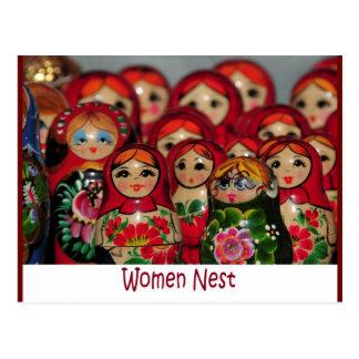 Women Nest Russian Nesting Dolls Postcard