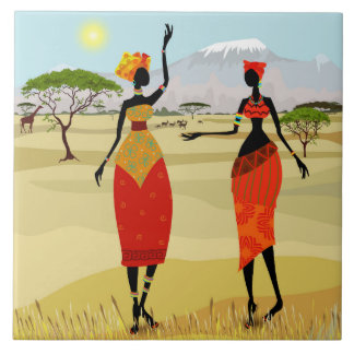 Women of Kenya animation Large Square Tile