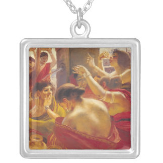 Women of Madura at a Fountain Silver Plated Necklace