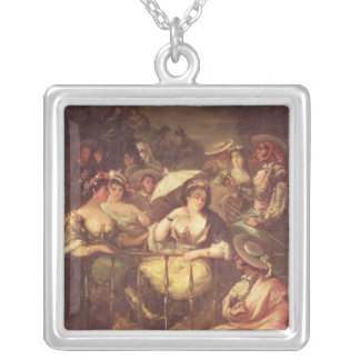 Women on a Balcony, 1859 Silver Plated Necklace