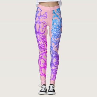 women pink leggings with flowers