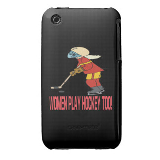 Women Play Hockey Too Case-Mate iPhone 3 Cases