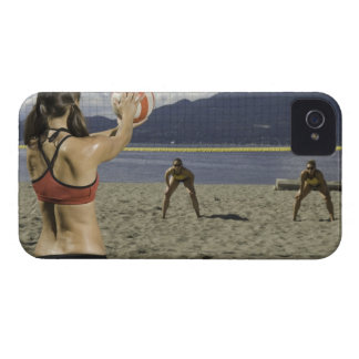 Women playing volleyball on beach iPhone 4 cover
