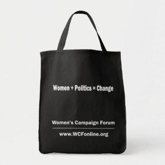 Women + Politics = Change tote Bag