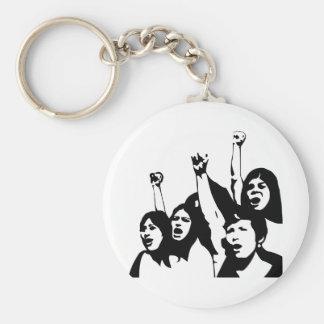 Women Power Basic Round Button Key Ring