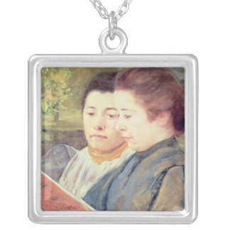 Women Reading Silver Plated Necklace