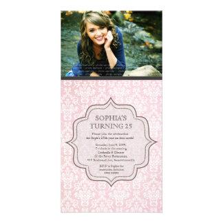 Women s Birthday White Pink Damask Invite Photo Cards