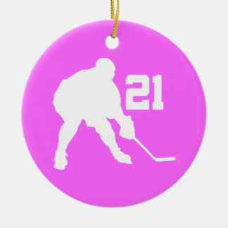 Women's Ice Hockey Player Number 21 Gift Ornament