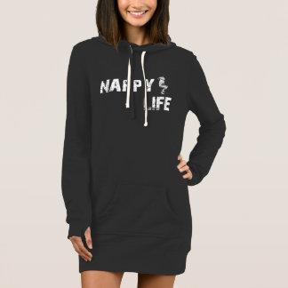 Women's Nappy Life Hoodie Dress w/White Logo.