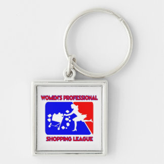 Women's Professional Shopping League Silver-Colored Square Key Ring