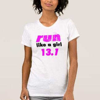 women's run like a girl 13.1 performance tshirts