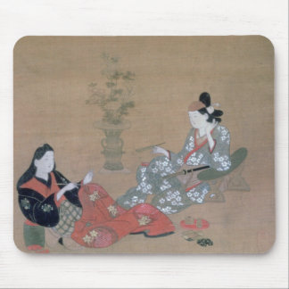 Women Sewing Vintage Japanese Print Mousepad