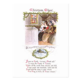 Women Singing in Church Vintage Christmas Postcard