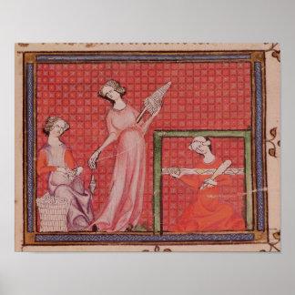 Women Spinning Wool Print