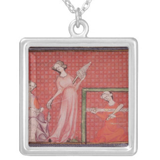 Women Spinning Wool Silver Plated Necklace