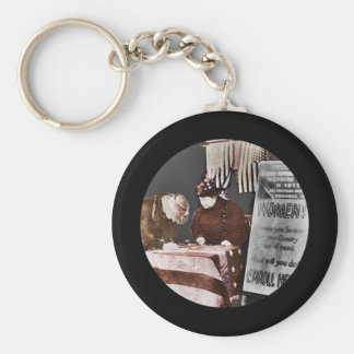 Women Suffragettes Enroll as War Supporters Basic Round Button Key Ring