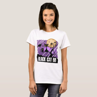 Women T-shirt Short sleeves Black cat , bat , owl