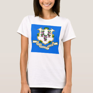 Women T Shirt with Flag of Connecticut State