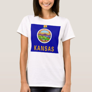 Women T Shirt with Flag of Kansas State