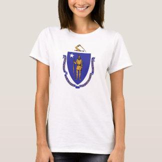 Women T Shirt with Flag of Massachusetts State