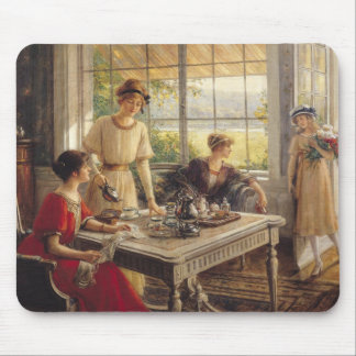 Women Taking Tea Mouse Mat