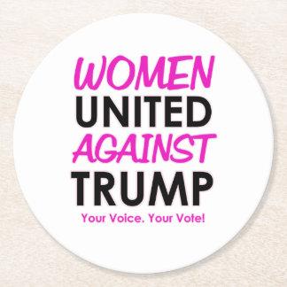Women United Against Trump Round Paper Coaster
