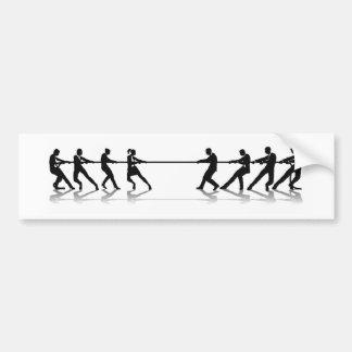 Women versus men business tug of war competition bumper sticker
