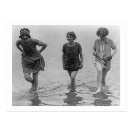 Women Wading at Arlington Beach Photograph Postcards