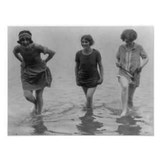 Women Wading at Arlington Beach Photograph Posters
