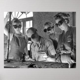 Women Welders in WWII, 1940s Poster
