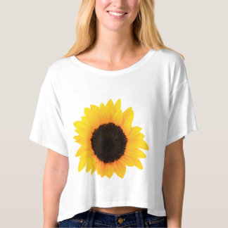 Women White T-Shirt Decor Sunflowers Single Bloom