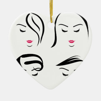 Women with different hairstyles ceramic heart decoration