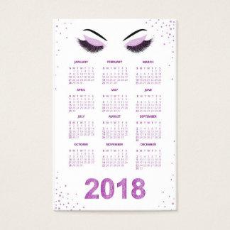 Women with glittery makeup 2018 calendar business card