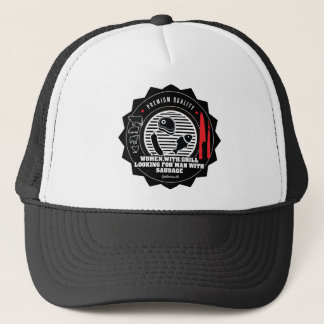 Women with grill looking for man with..... trucker hat